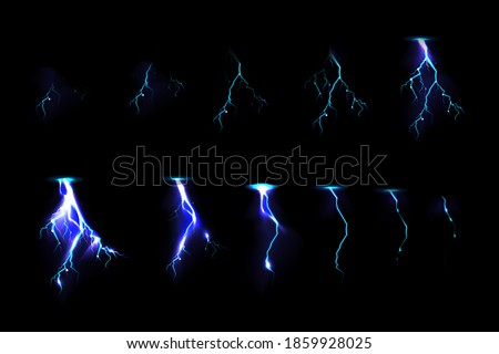 Sprite sheet with lightnings, thunderbolt strikes set for game fx animation. Vector realistic set of blue electric impact at night, sparking discharge of thunderstorm isolated on black background stock photo
