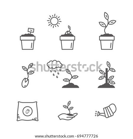 sprout and seeds vector icon set. growing, planting and pouring. modern line art design. gardening illustration.