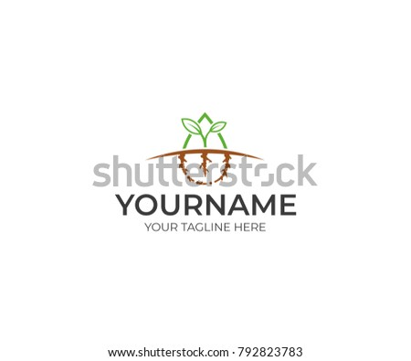 Sprout green logo template. Growth and prosperity vector design. Agriculture illustration