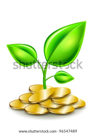 Sprout in gold coins. Green young leaves. Vector illustration.