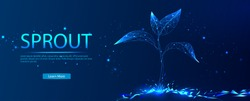 Sprout. The concept of growing plants. Abstract illustration isolated on a blue background. Save the planet, nature, environment. Grow life, polygon, triangles, low poly, vector illustration.