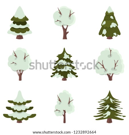 Spruce and deciduous trees covered with snow color flat icons set
