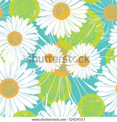 spting seamless pattern with daisies