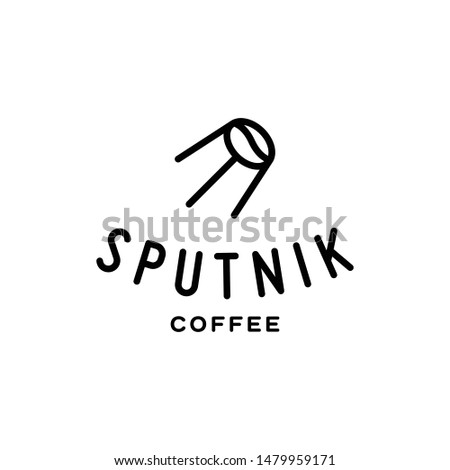 Sputnik coffee logo design template. Caffeine label illustration background. Vector line bean icon symbol. Simple space satellite logotype