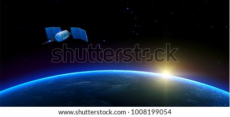 sputnik flying in outer space