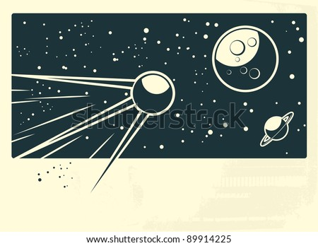 sputnik flying to the moon with banner under