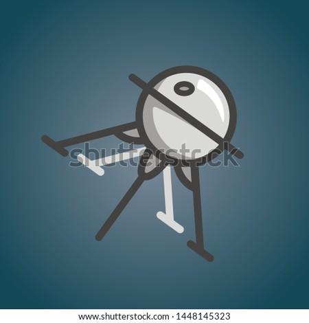 Sputnik icon. Satellite illustration design. Flat soviet union space ship. Communication shuttle. Vector cosmos explorer. Space discovery.
