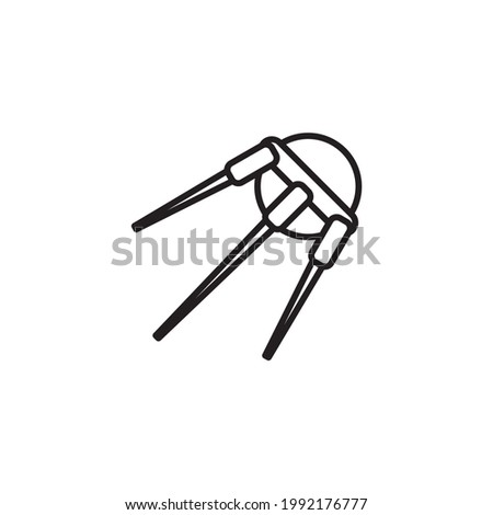 Sputnik icon. Thin linear sputnik outline icon isolated on white background from astronomy collection. Line vector sign, symbol. Sputnik icon, outline style