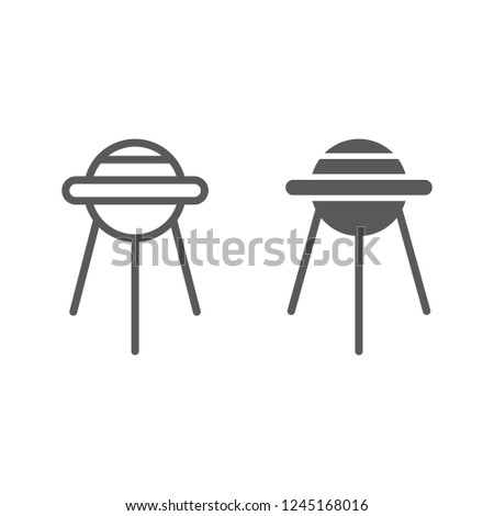 Sputnik line and glyph icon, space and shuttle, satellite sign, vector graphics, a linear pattern on a white background, eps 10.