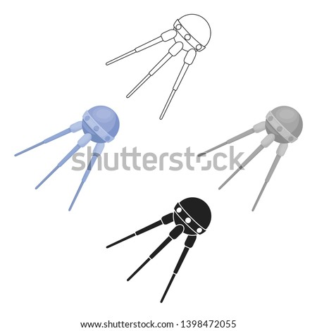 Sputnik One icon in cartoon,black style isolated on white background. Space symbol stock vector illustration.