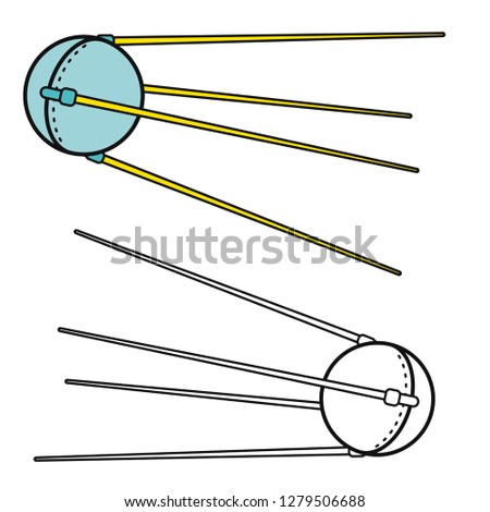 Sputnik one vector. First artificial satellite.