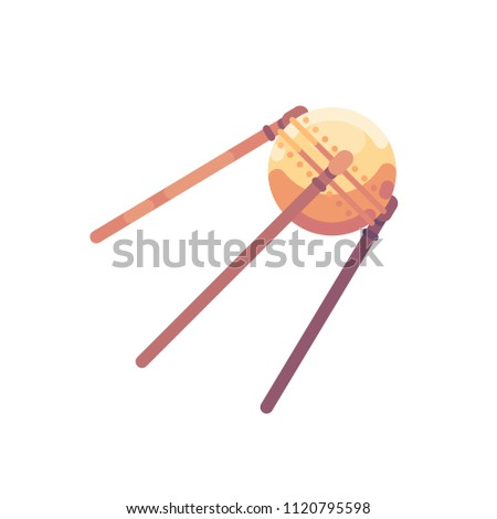 Sputnik satellite vector illustration. Space exploration flat icon.
