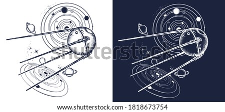 Sputnik space ship tattoo and t-shirt design. Universe research. Symbol of space expedition, science, future, research of solar system. Black and white vector graphics