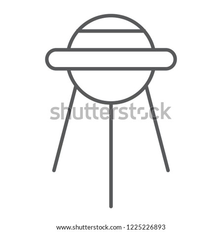 Sputnik thin line icon, space and shuttle, satellite sign, vector graphics, a linear pattern on a white background, eps 10.