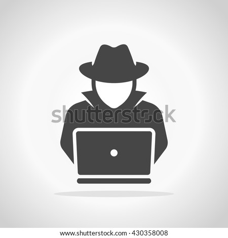 spy agent searching on laptop