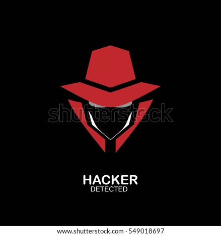 spy agent, secret agent, hacker. Mysterious man on dark black background. Secret service agent icon. Incognito. undercover.