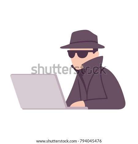 spy agent with computer getting