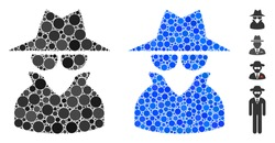 Spy composition of round dots in various sizes and color tones, based on spy icon. Vector round dots are organized into blue composition. Dotted spy icon in usual and blue versions.