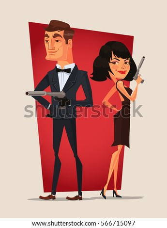 spy couple characters vector