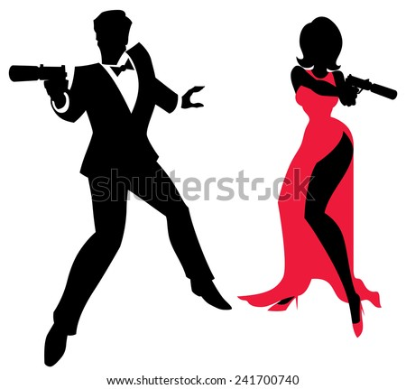 spy couple silhouettes of spy couple over white background no transparency and gradients used