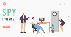 Spy Female Character Listening through Wall Landing Page Template. Eavesdropper Woman with Mug Spying to Colleagues, Overhearing, Collecting Information in Office. Cartoon People Vector Illustration