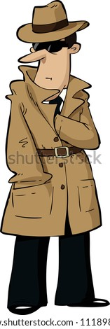 Spy hides his hand in his bosom vector illustration