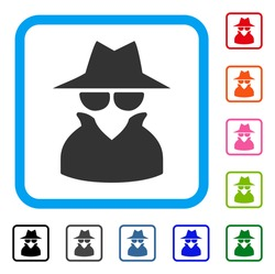 Spy icon. Flat gray pictogram symbol inside a blue rounded square. Black, gray, green, blue, red, orange color additional versions of Spy vector. Designed for web and app UI.