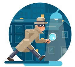 Spy magnifying glass mask detective cartoon character walk night city street background flat design vector illustration
