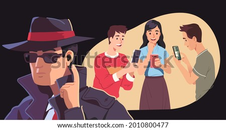 Spy person listening eavesdropping on people, men, woman mobile phone conversation. Cell users text messaging unaware of spying. Information privacy violation spyware app espionage vector illustration