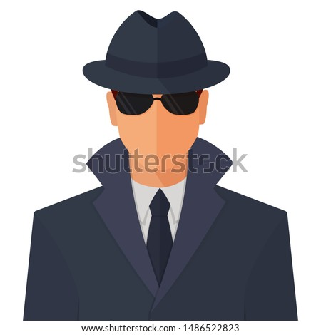 Spy secret agent man character in sunny glasses, hat and raincoat flat style cartoon vector colorful illustration icon isolated on white background. Сток-фото ©
