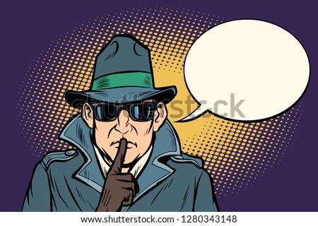 spy shhh gesture man silence secret. Comic cartoon pop art retro vector illustration drawing