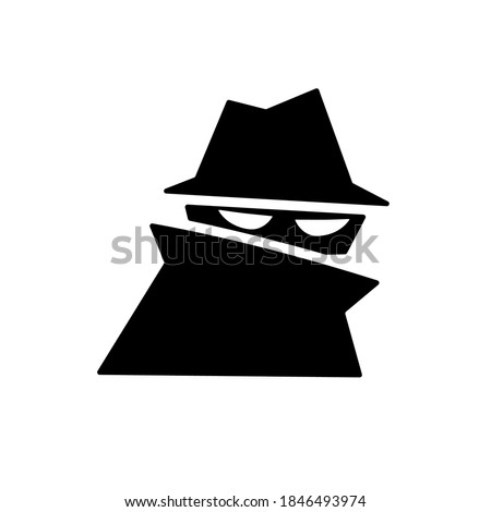 Spy silhouette icon. Clipart image isolated on white background. Сток-фото ©