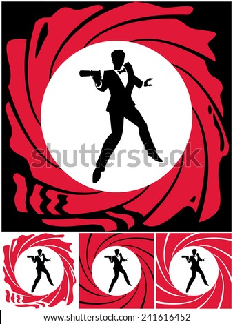 Spy: Silhouette of secret agent. No transparency and gradients used.