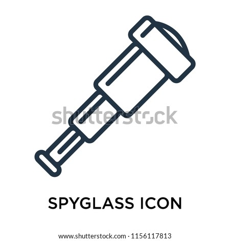 Spyglass icon vector isolated on white background, Spyglass transparent sign , thin pictogram or outline symbol design in linear style