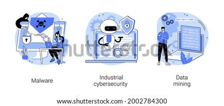 Spyware development abstract concept vector illustration set. Malware and computer virus, industrial cybersecurity, data mining, antivirus security and protection, cyber attack abstract metaphor.