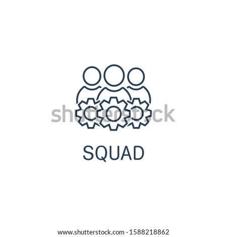 Squad specialists. Brigade. Vector linear icon on a white background.