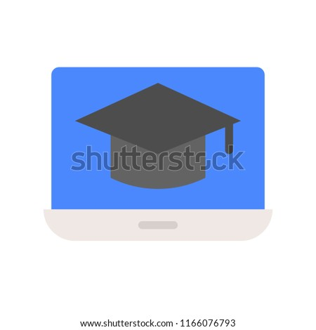 square academic cap on laptop screen, online learning course concept icon