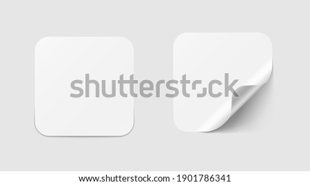 Square adhesive stickers. White tags, paper round stickers with peeling corner. Vector illustration.