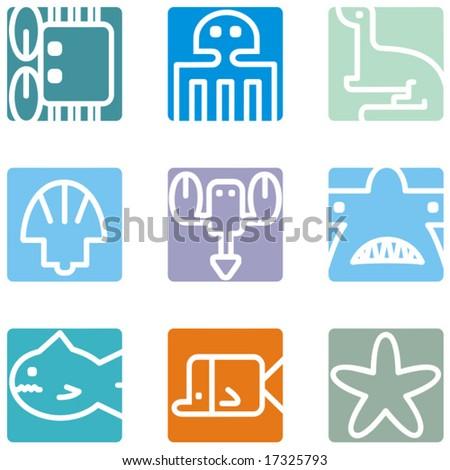 Square animal icon series - seaworld.