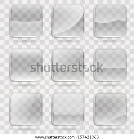 Square application transparent glass buttons or app banners with rounded corners and different gloss reflection effect over, eps10 vector