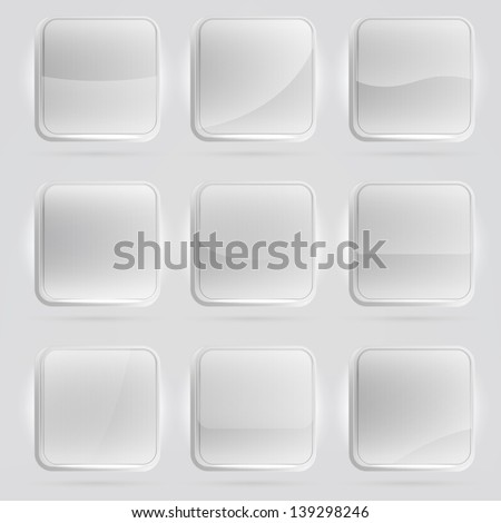 Square application white buttons or app banners with rounded corners and different gloss reflection effect over, eps10 vector #139298246