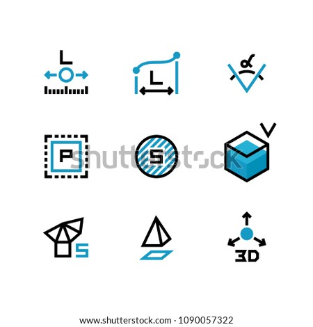 Square area, size, surface areas, 3d dimension, angle and perimeter measuring vector icons isolate. Illustration of symbol acreage, , measurement icon