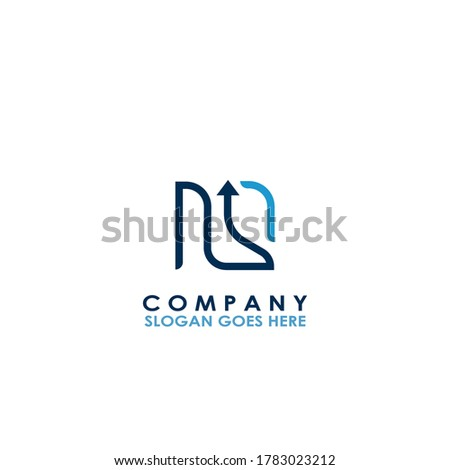 Square Arrow Chart  NS Letter Logo design of chart  with arrow for business, finance and company identity Stock fotó ©
