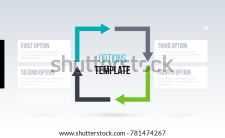 Square arrows template with four options on white background in elegant techno style.
