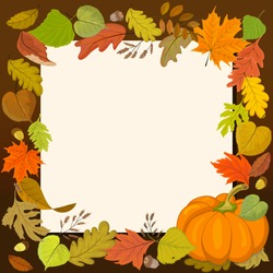 Square autumn banner with a blank sheet of paper in the center and a frame of autumn leaves and pumpkin.