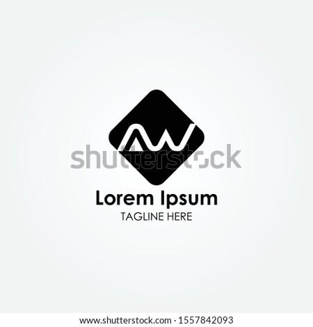 Square AW Letter logo Vector design. AW logo design