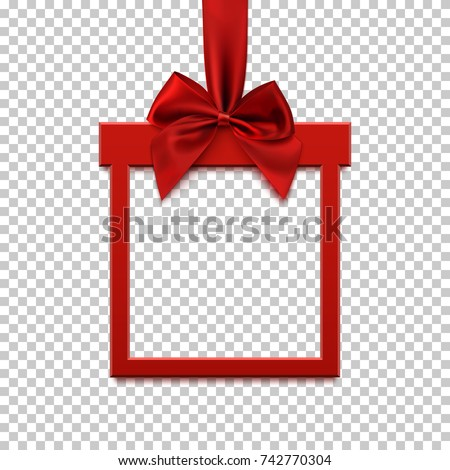 Square banner in form of  gift with red ribbon and bow, on transparent background. Brochure, greeting card or banner template. Vector illustration.