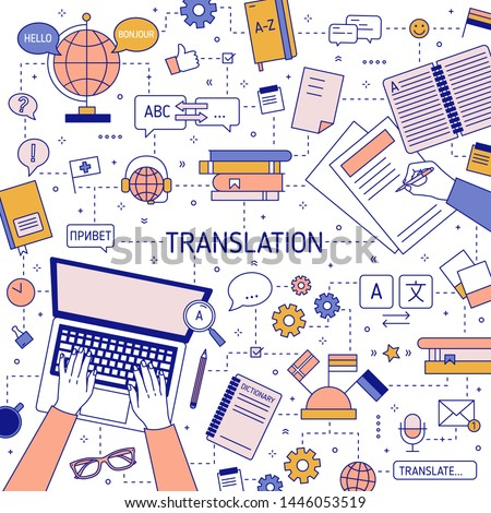 Square banner template with hands of translators typing on laptop keyboard and writing on paper. Translation of foreign languages and international communication. Vector illustration in linear style.
