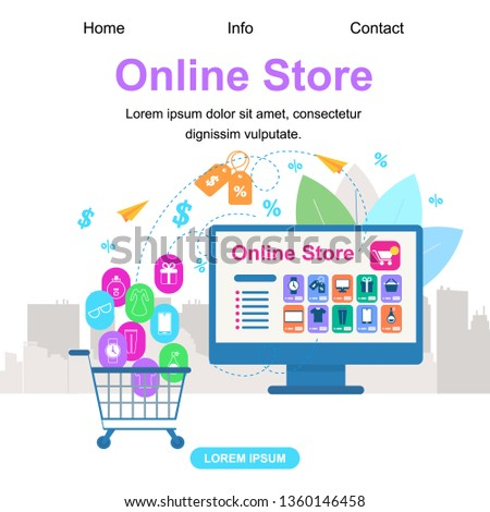 Square Banner with Copy Space. Online Store. Shopcart Trolley with Buys Icons Stand near Large PC Computer Monitor Screen with Website App. Price Tags Signs Around. Shopping Flat Vector Illustration
