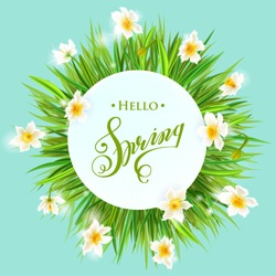 Square banner with daffodils on the corners. Hello spring. Bright yellow banner with bokeh. Vector flower.